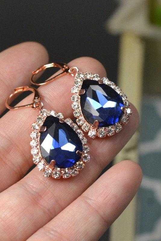 Свадьба - Navy blue,sapphire blue Wedding Jewelry Bridesmaid Gift Bridesmaid Jewelry Bridal Jewelry tear drop Earrings ,bridesmaid gift