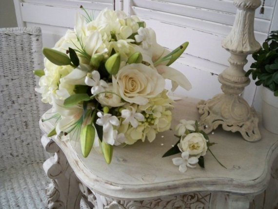 Realtouch casablanca lilies and roses stephanotis silk flower bridal realtouch casablanca lilies and roses stephanotis silk flower bridal bouquet traditional elegance mightylinksfo Images