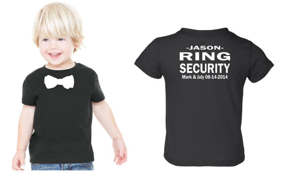 Свадьба - Personalized Ring security shirt Ring Bearer tshirt bowtie tee with NAME