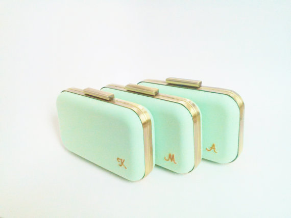 Wedding - mint wedding clutches, set of 3 bridesmaid clutches, mint bridesmaid, mint gold wedding, mint minaudiere, coral wedding, wedding clutches
