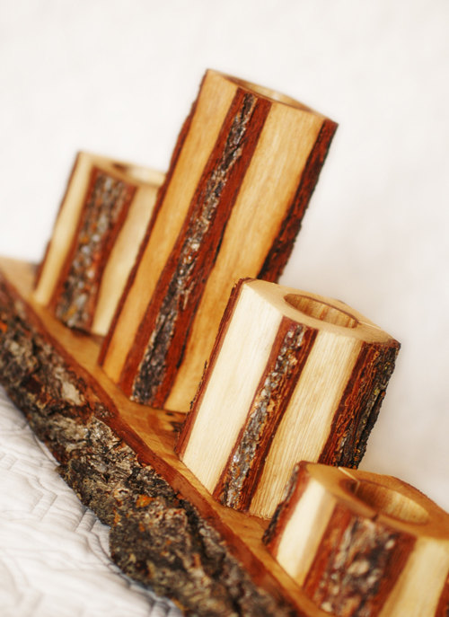 Hochzeit - Rustic Candle Set of 3 candles with rustic slab base, Unity Candle set