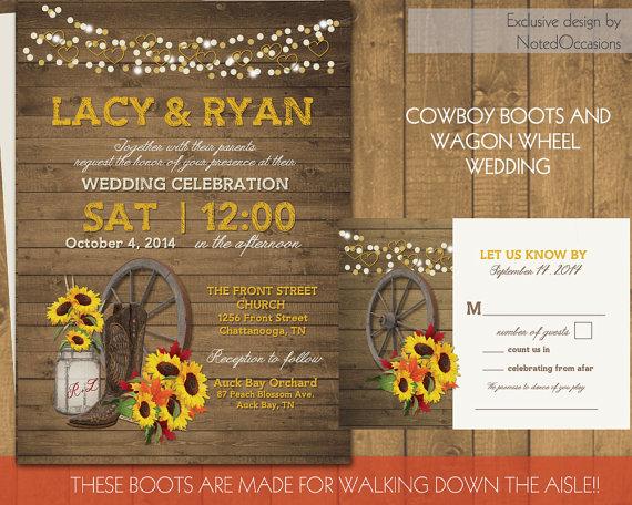 Western Wedding Invitation Set Wagon Wheel Rustic Mason Jar