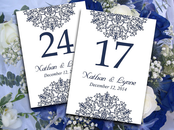 Свадьба - DIY Wedding Table Number Microsoft Word Template
