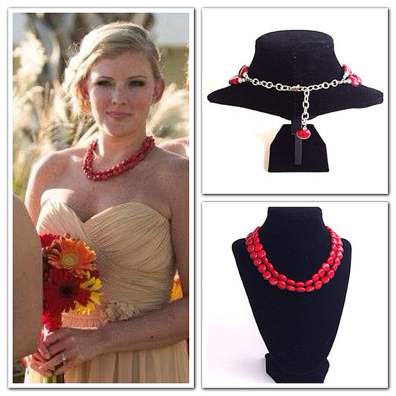 Свадьба - Red necklace - red turquoise necklace - bridesmaids necklace - wedding party jewelry   - two strand necklace - statement necklace - beadwork