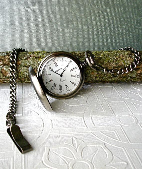 Свадьба - Steampunk Pocket Watch Vintage Antique Silver Black Leather Gothic Roman Numerals Citizen Quartz Wedding Best Man Groomsmen 3rd Anniversary