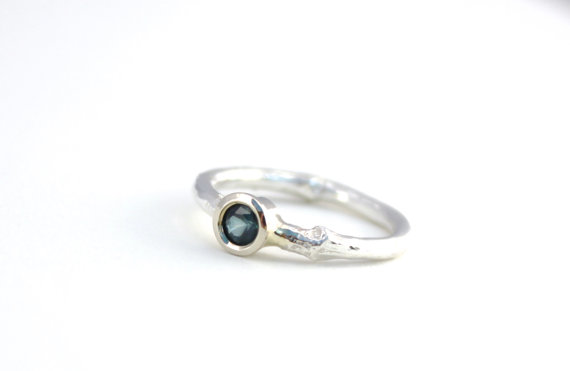Mariage - unique twig engagement ring . blue sapphire silver branch engagement ring by peaces of indigo . ready to ship size 6.5