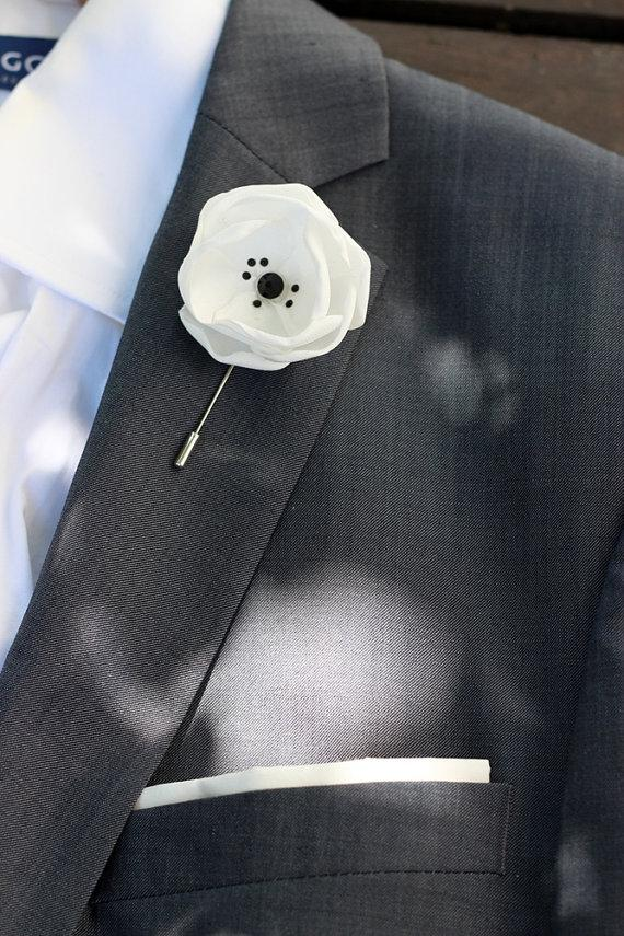 White satin flower with swarovski crystals mens boutonniere lapel white satin flower with swarovski crystals mens boutonniere lapel pin groomsmen boutonniere mens lapel flower mightylinksfo