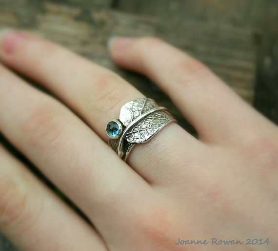 Sage Leaf Ring With London Blue Topaz...Engagement Ring Wedding Band  Promise Ring