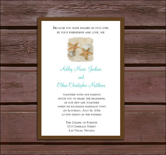 Mariage - 50 Beach Wedding Invitations, RSVP's, Reception Invitations with FREE Calendar Stickers