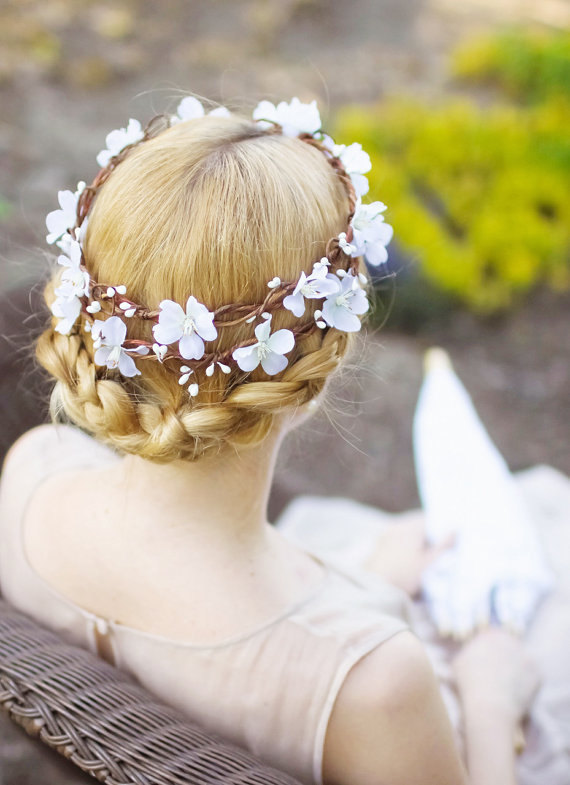 زفاف - bridal flower crown, white flower head wreath, wedding headpiece, cherry blossom -BLOSSOM- floral crown, rustic wedding hair accessory