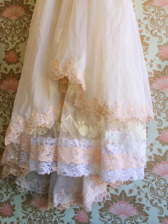 Mariage - white off white blush pink chiffon tulle organza alencon lace fishtail offbeat bride wedding dress by mermaid miss k