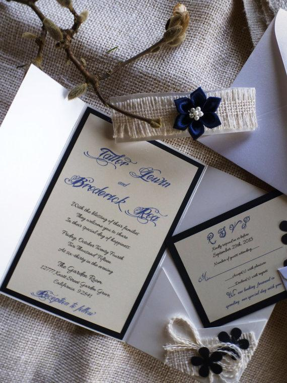 "Свадьба - Navy Blue Wedding Invitation - ""Blue de Chanel """