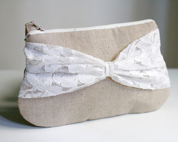 Wedding - bridesmaid clutch - linen and bow lace clutch - zippered clutch - rustic wedding