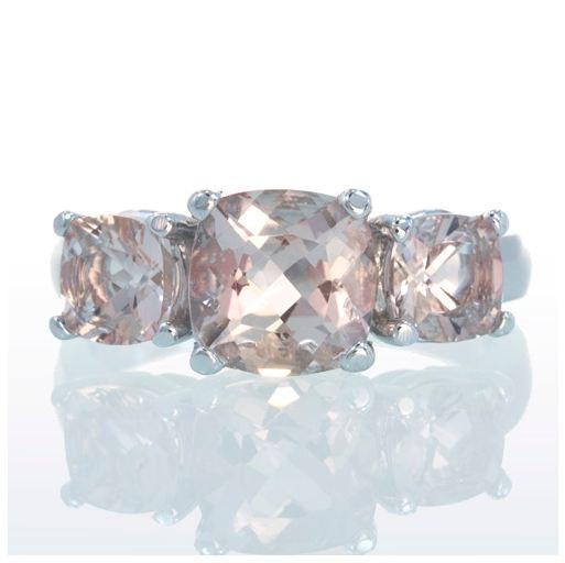 Mariage - White Gold Three Stone Cushion Cut Morganite Anniversary Wedding Band Engagement Ring