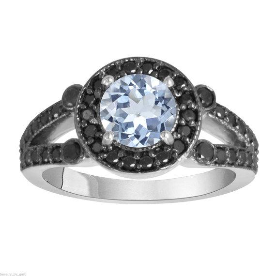 زفاف - Aquamarine & Black Diamond Engagement Ring 14k White Gold 1.52 Carat Halo HandMade Birth Stone
