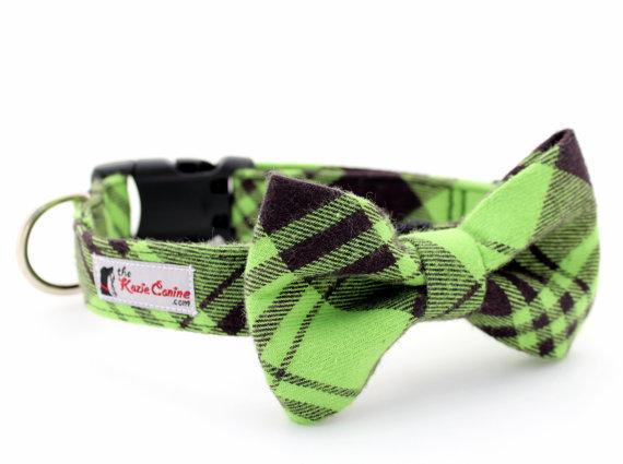 زفاف - Green and Black Plaid Flannel Dog Collar (Matching  Dog Bow Tie Available Separately)