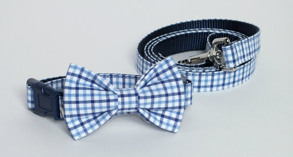 زفاف - Preppy Blue Plaid Collar and Leash Set, Wedding Set