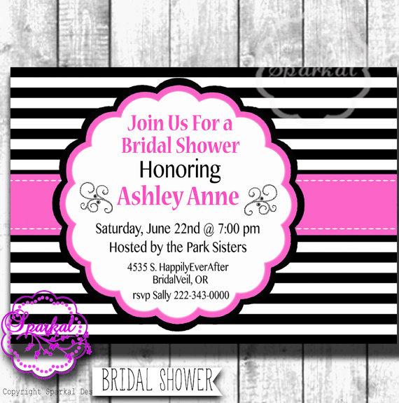 bridal shower party invitation paris themed printable digital wedding shower invitation pink black wedding shower add a water bottle label