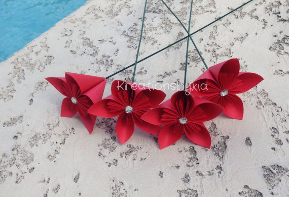 Red origami flowerkusudama flower bouquet flower arrangement baby red origami flowerkusudama flower bouquet flower arrangement baby shower baby gift centerpiece mightylinksfo