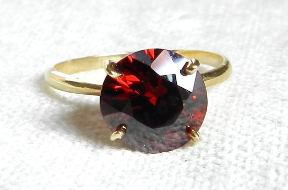 Wedding - Bohemian Garnet Engagement Ring Antique 2.5 Carat Garnet Ring Solitaire Alternative Engagement January Birthday