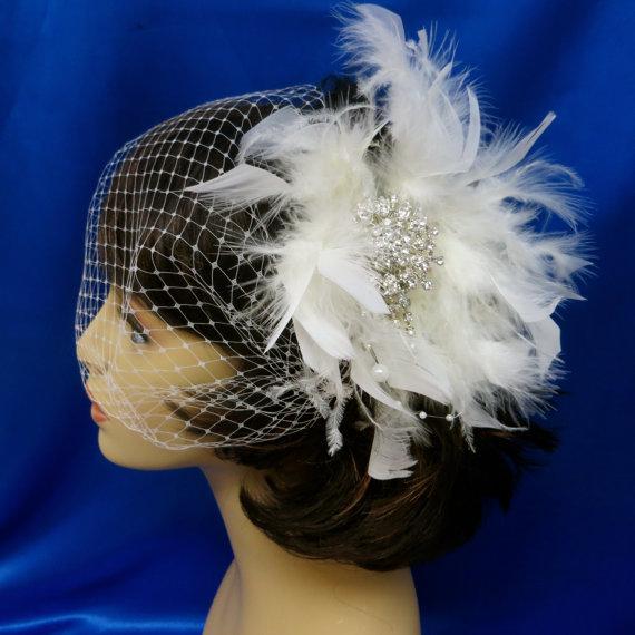 Mariage - Bandeau Birdcage Veil, Wedding Blusher Veil, Rhinestone Feather Veil, Bridal Feather Veil, Wedding Feather Veil, Feather Crystal Veil