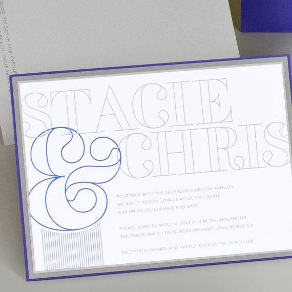 Navy Blue Wedding Invitations Modern: Modern Wedding Invitation, Classic Wedding Invitation