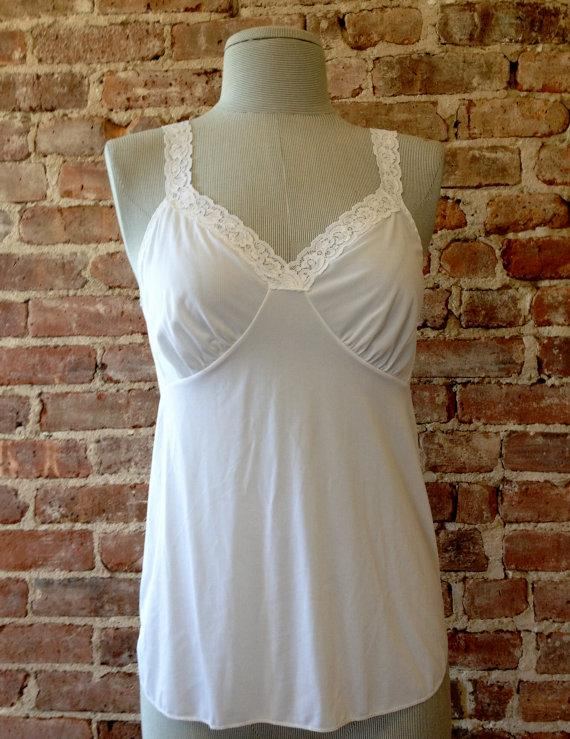 Mariage - Size 34 - SHADOWLINE Camisole, Nylon - White Cami - Pinup Girl - Gatsby - Vintage Lingerie