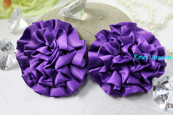 Свадьба - Satin Ruffle Rosettes   - Amethyst - Puff Rosette- Fabric flowers- Satin Puff Rosette- Wedding bouquet- Head Band - Set Of 2 pcs.
