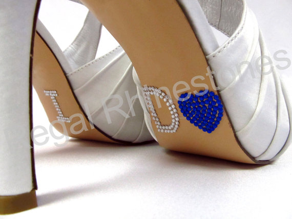 Mariage - I Do Shoe Stickers - COBALT BLUE HEART I Do Wedding Shoe Stickers - Rhinestone I Do Shoe Decals for your Bridal Shoes