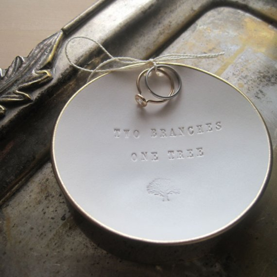 Свадьба - Two Branches One Tree Ring Bearer Bowl with gold leaf edge- wedding ring holder, ringbearer by Paloma's Nest