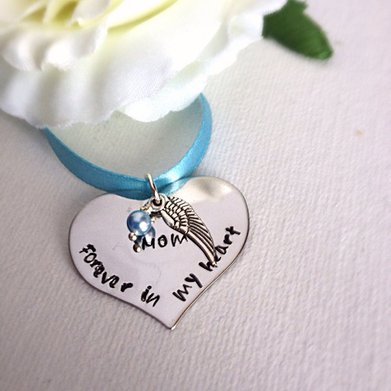 Свадьба - Wedding Bouquet Memorial Heart Shaped Charm With Wing Hand Stamped Something Blue WA03