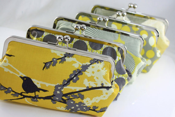 Mariage - Grey and Yellow Bridesmaid Clutches / Personalized Gift for your Bridesmaids / Wedding Gift - Set of 8