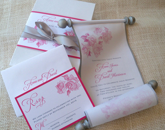 Свадьба - Summer Wedding Invitation Suite, Romantic Suite with Pink Roses and Silver Accents, Boxed Fabric Scroll Invitation, Rustic Garden Wedding 50