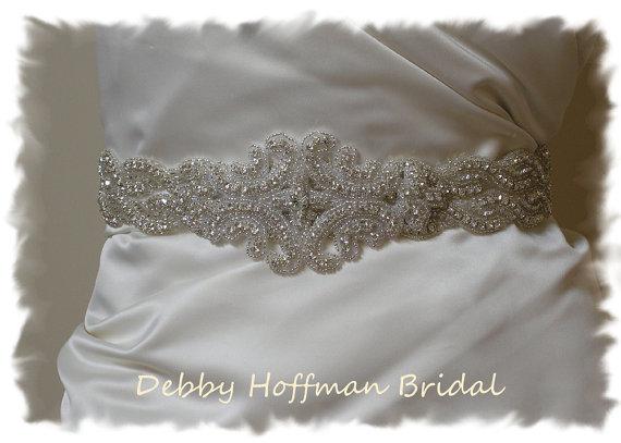 Wedding - Beaded Rhinestone Crystal Bridal Belt, Jeweled Wedding Dress Sash, No. 1126S2-1101, Beaded Wedding Sash,  Accessories, Rhinestone Belt, Sash