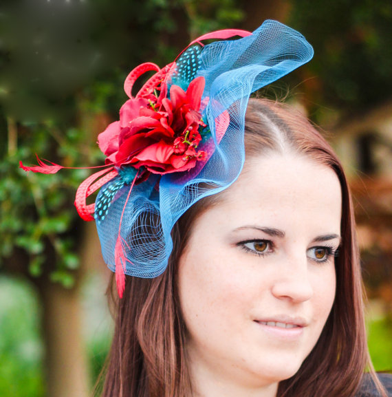 Свадьба - Red fascinator blue veil wedding hat WEDDING GAMES