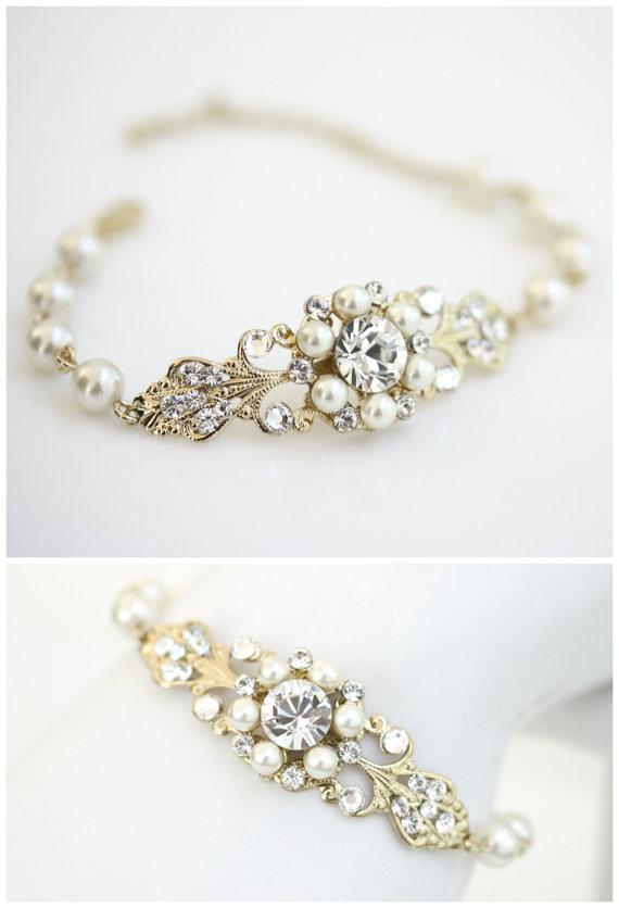 Свадьба - Gold Bridal Bracelet Gold Wedding Jewelry, Ivory Pearl Bracelet, Filigree Cuff Bracelet, Pearl Wedding Bracelet, PARIS CLASSIC BRACELET