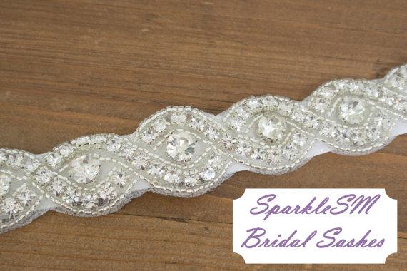 Mariage - Braided Rhinestone Bridal Sash, Beaded Crystal Sash, Bridesmaids, Wedding Gown Belt Rhinestone Bridal Belt - Evie