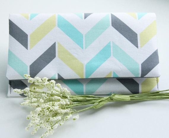 زفاف - The DANIELLE CLUTCH - Aqua, Mint, Gray, Lime and White Chevron Stripes Clutch, Bridesmaid Clutch, Modern Wedding Clutch