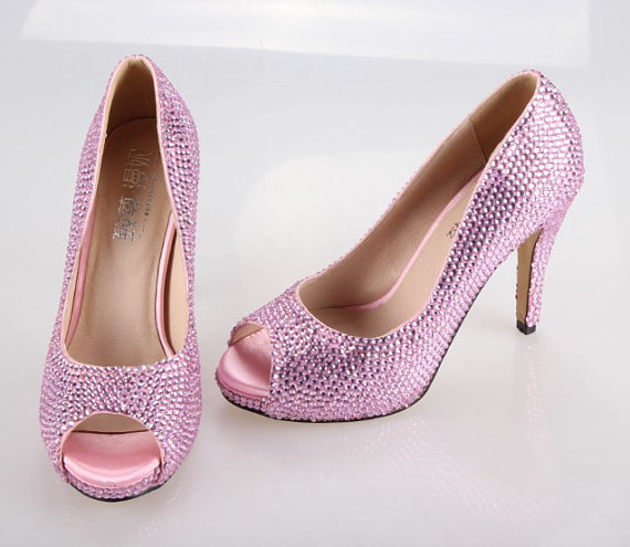 Hochzeit - Soft pink rhinestone bling wedding shoes , bridal shoes  peep open toe party prom shoes pumpls bling shoes