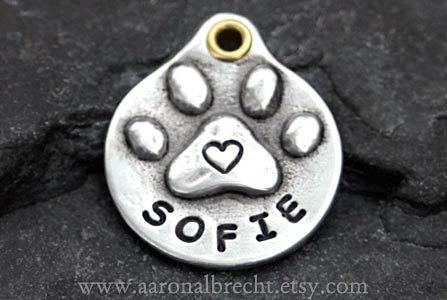 Свадьба - Personalized Dog Tag - Pet Tag - Dog ID Tag - Pet ID Tag - Handmade Paw Print with Heart