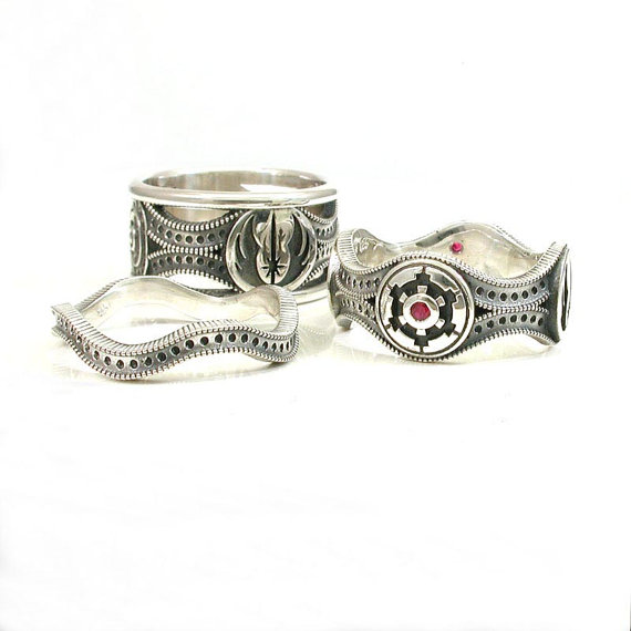 Star Wars Ring Set Sterling Silver Geek Engagement Rings