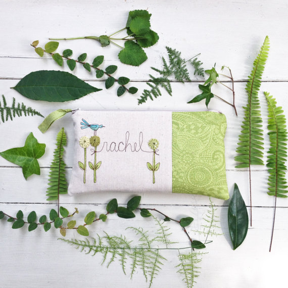 Mariage - Woodland Wedding Clutch, Unique Gift for Bridesmaid, Simple, Personalized Clutch, Fern Green, Botanical MADE TO ORDER MamaBleuDesigns