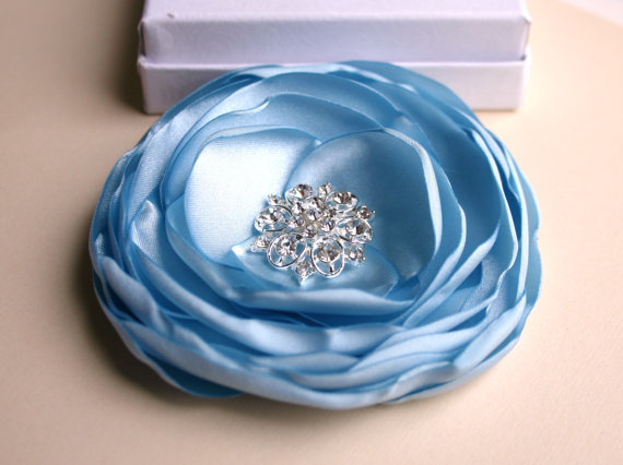 Hochzeit - Light Blue Wedding Flower Hair Clip - Blue Hair Accessory - Flower Hair Piece - Blue Bridal Accessory