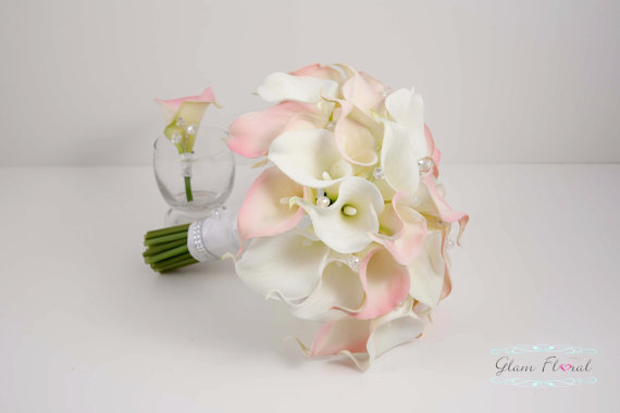 Cream Calla Lily Bridal Bouquet : Real touch calla lily wedding bridal bouquet boutoniere