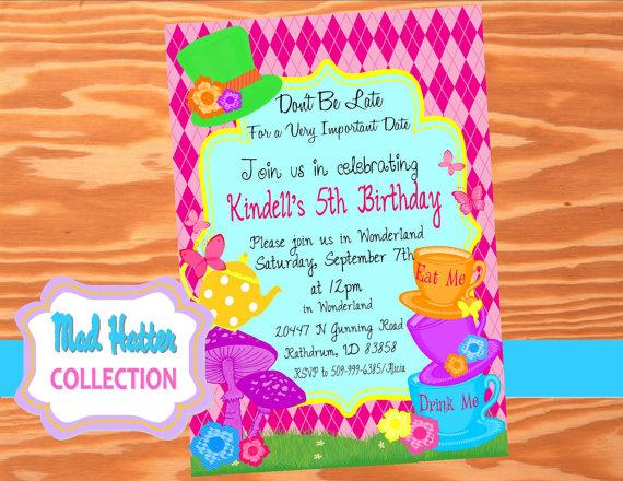 Mad Hatter Party INVITATIONS Printables Alice In Wonderland