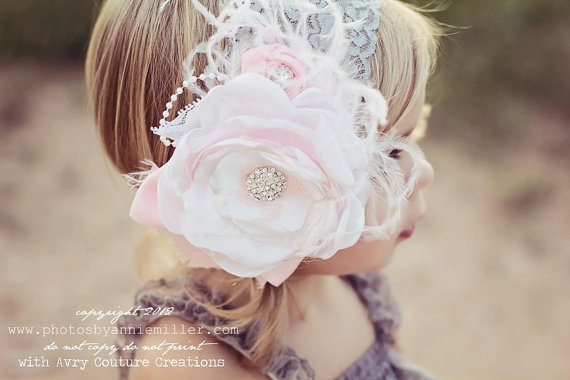 Baby Headband-Vintage Couture Headband-Headband-Baby Girl-Wedding-Flower  Girl Headband-Couture Baby Headband-Photo Prop 0755077c6e6