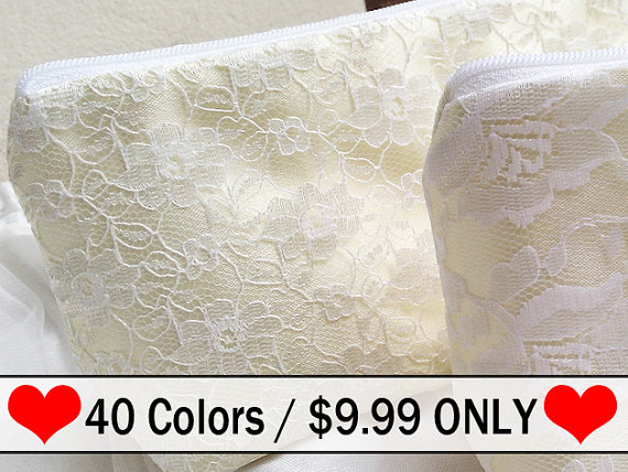 Hochzeit - Lace Bridesmaid Gift Wristlet Clutch - Bridal Wedding Accessory in Champagne and Ivory lace