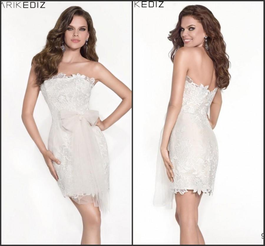 White Short Strapless Prom Dresses Tarik Ediz 2015 Sheath Lace ...