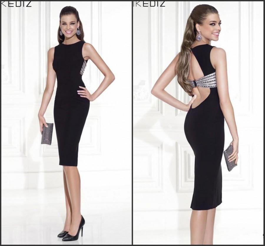 Noble Sheath 2015 Tarik Ediz Black Short Prom Dresses Party Crew