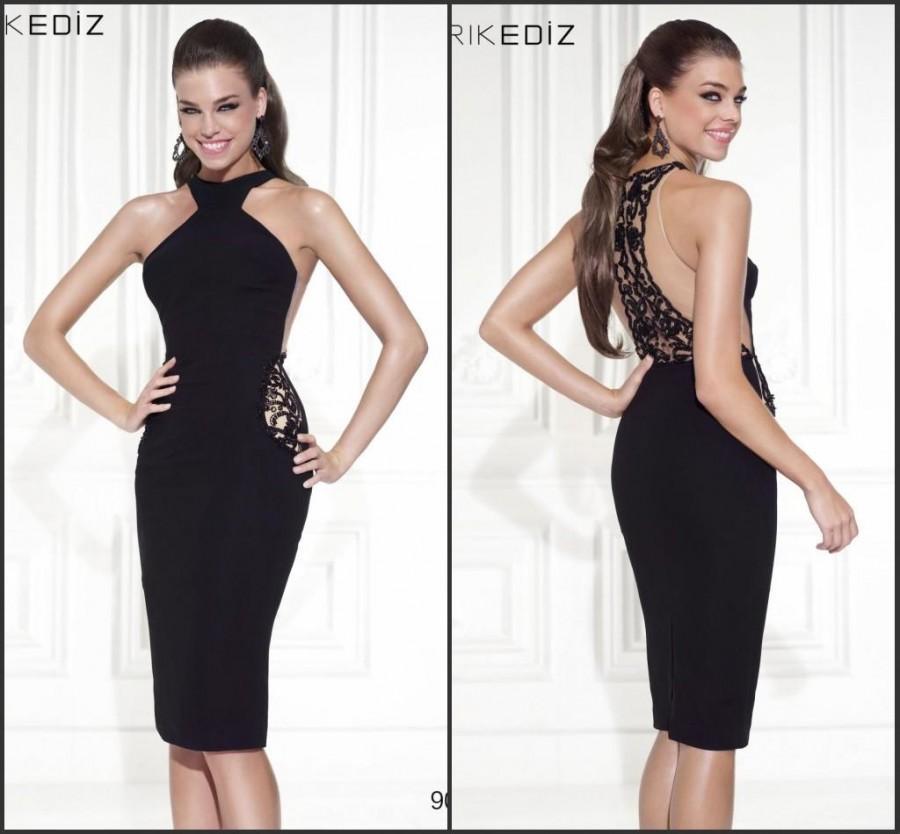 2015 Sexy Sheath Tarik Ediz Black Prom Dresses Sleeveless Crew